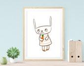 Little Bunny, nursery decor, Illustration Print,  Kids Room Decor
