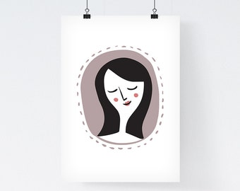 Lovely Lady -  Art Illustration Print, Giclee print