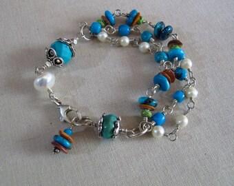 Sky Blue Turquoise Sterling Linked Bracelet, Three Strand Sterling Wire Handcrafted Bracelet, Southwestern Style Gemstone Treasure Bracelet