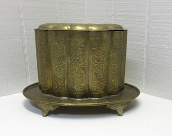 Vintage Brass Engraved Oval Container / With Lid