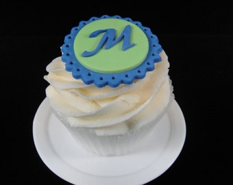 Fondant Initial Toppers 2, Edible Toppers, Initial Cupcake Toppers, Initial Toppers, Weddings - Qty 12