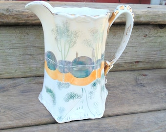 Ohio Pottery. Pottery Pitcher. Wellsville Ohio. ANTIQUE POTTERY. US Pottery Company. 1900s Pottery. Vintage Dinnerware. kitchen stage prop.