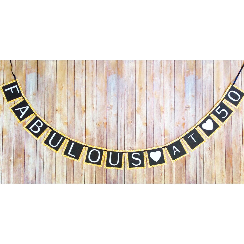 printable 50th birthday banner digital fabulous at 50. Black Bedroom Furniture Sets. Home Design Ideas
