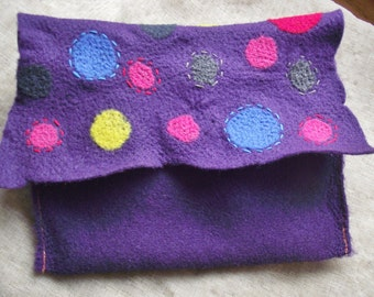 Needle Felted CLUTCH Purple purse handbag wallet bag tote cellphone pouch multi color small snap fun whimsical felt teen girls