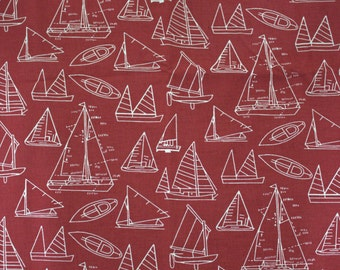 Boat Print on Burgundy Cotton Fabric (1yd)