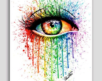 30 PERCENT OFF 18x24 inch Pop Art Poster - Eye Candy - Hand Signed Fine Art Print - Edgy Alternative Rainbow Eyes Artwork