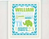 Boy's Elephant Birth Announcment Art Print // Baby's Birth Print // Kid's Nursery Wall Art Poster // blue green // small to large print