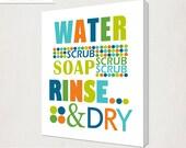 Wash Your Hands Print // Kid's Bathroom Art Canvas // Polka Dot Bathroom Canvas // Home Decor Bathroom Art // Blue orange Bathroom Wall Art