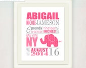 Birth Announcement Wall Art Print // Elephant Print // Custom color or pink and grey // Girl's Nursery Announcment Print // Baby Gift