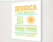 Sunshine Birth Announcement Canvas // Yellow Baby Nursery Art // Personalized Name Art Canvas // Kid's Wall Art Canvas // Gift for Baby