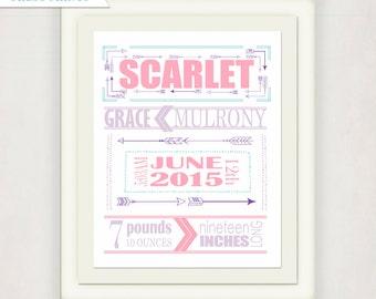 Arrow Birth Announcement Poster // Pink & Purple Baby Wall Art // Boy's Girl's Gift // Nursery Birth Print // Arrow Nursery Art // New Baby