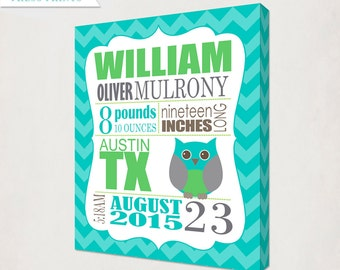 Personalized Birth Announcment Owl Canvas Print // Girl's Owl Birth Announcement Art Canvas // Kids Nursery Wall / Birth Information Canvas