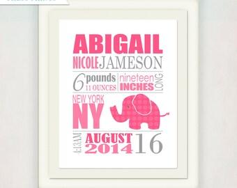Birth Announcement Wall Art Print // Elephant Print // Custom color or pink and grey // Girl's Nursery Announcment Print // Baby Gift