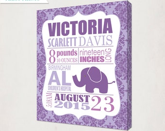 Birth Announcement Wall Art Canvas // Elephant Print on Canvas // Elephant in Lavender Purple // Girl's Nursery Announcement Canvas // Baby