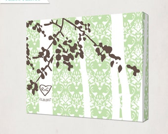 Tree with Initials Print on Canvas // Personalized Wedding Gift Art Canvas // lovebird damask background // Wedding Print