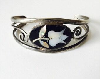 Silver flower bracelet Sterling Silver Abalone inlay Mexican folk jewelry