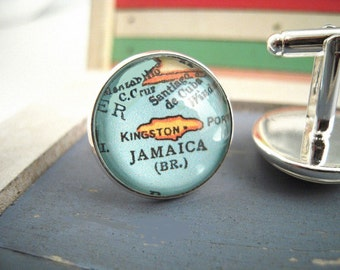 "Custom Vintage Map Cuff Links Jamaica Carribean Island 3/4"" 20mm Mens Jewelry Gift Ideas Groomsmen Cuff Links Mens World Travel"