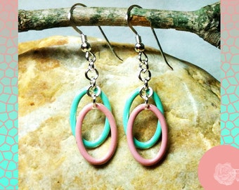 Hook Earrings Pink and Turquoise Aqua Green Double-Sided Enameled Os Double-Drops on Handmade Silver Chain Hoops Sterling Silver Ear Hooks