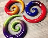 Colorfade Spirals - Faux Gauged Earrings - Fakers - Fake Gauge Earrings