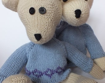 teddy bear Augustus in blue jumper