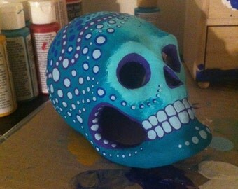 Dia de los Muertos (Day of the Dead) paper mache sugar skull--one-of-a-kind, hand-painted