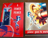 Pair of mid-century General Motors published books on power and the internal combustion engine. Power Goes to Work and A Power Primer 1955