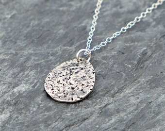 Rustic Cactus Leaf Necklace , Cactus Sterling Silver Pendant Tear Drop Necklace , Cactus Pendant Gift For Teens Oxidized Silver Necklace