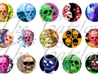 """Skull Magnets, Skull Pins, Colorful Skulls Magnets, Colorful Skull Pins, 1"""" Flat, Hollow Bk, Cabochons, 12 ct"""
