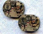 """1/2"""" x 5/8"""", 2 IDENTICAL little watch movements, best price, jewelry art, steampunk, vintage, watch parts, JunqueTreasures, WM11"""
