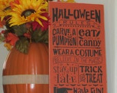 Halloween Rules Wooden Sign - Halloween Sign - Halloween Decoration