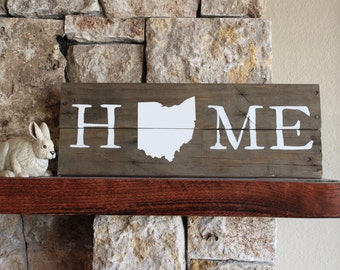 Ohio HOME, Reclaimed Wood Sign, Ohio Map Sign, Buckeye Sign, Ohio State Sign, Rustic Ohio Sign, Wooden Ohio, Wood Ohio Sign, Ohio Wall Art