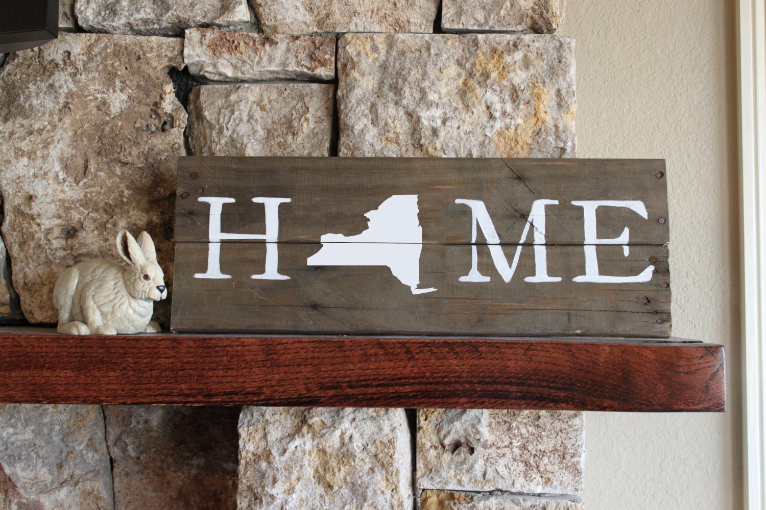 New york state home reclaimed wood sign ny home sign ny for Reclaimed wood new york