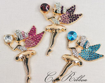 Rhinestone Fairy With Wings Angel Alloy Cabochon - Phone Case Deco 2~12 pieces