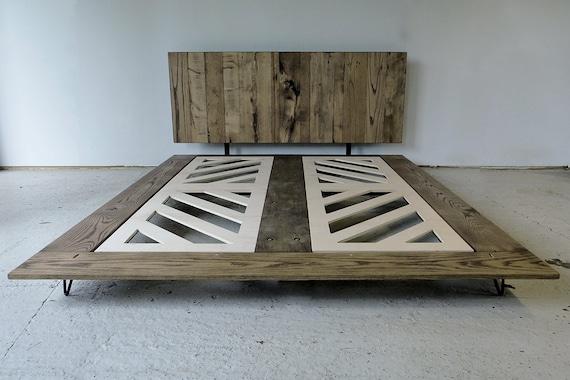 Minimalist reclaimed wood platform bed by modernarks on etsy - Minimal platform bed ...