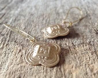 Golden Moroccan Drop Earrings, Bridesmaid Gift, Quatrefoil Charms, Moroccan Earrings, Gold Earrings, Bohemian Earrings, Bohemian Jewelry