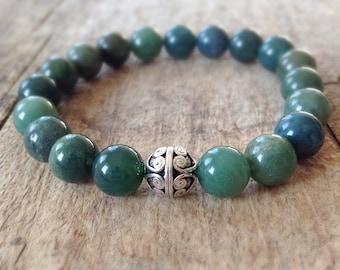 Men's Bali Bracelet, Moss Agate, Green Stretch Bracelet, Bali Sterling Silver Bracelet, Bohemian Bracelet, Bohemian Jewelry, Father's Day