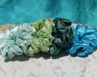 Shades of Green Scrunchies in Sateen