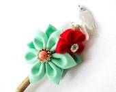 Unique Driftwood Hair Stick with Kanzashi Flowers and Bird Mint and Red Rustic Wedding