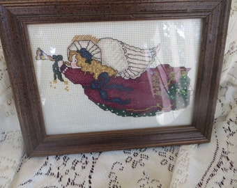 Counted Cross Stitch of Angel Christmas Decor Framed