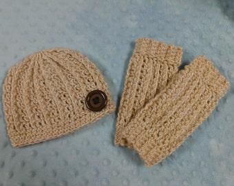 Crochet Hat and Legwarmer Set - Newborn