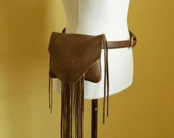 chocolate brown leather handbag, hip bag belt bag with fringe by Tuscada. Ready to ship.