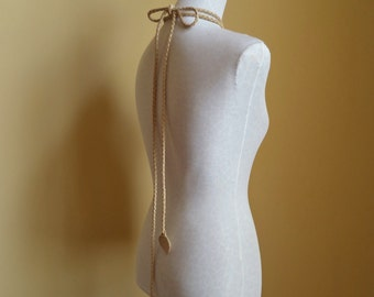 light tan cream vanilla leather belt, slim necklace with leaf ends by Tuscada. Ready to ship.