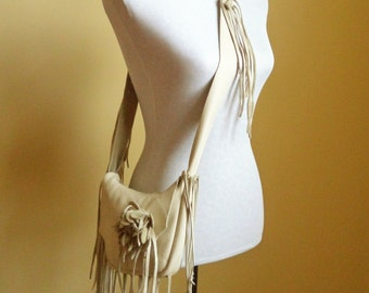 cream white leather handbag, shoulder purse with fringe and detachable flower by Tuscada. Ready to ship.