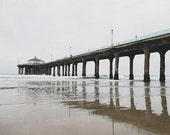 "Manhattan Beach Pier, Foggy Beach, Gray minimalist art, reflection, pier photograph, California coast, Manhattan Pier ""Early Morning"""