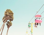 Santa Cruz Photography, Summer, Mid Century Modern, Pastel Wall Arr, Palm Trees, Santa Cruz Boardwalk, Retro Inspired, Nursery Wall Art