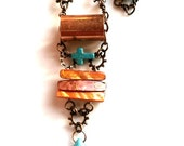 Upcycled Necklace Copper Cross Christian