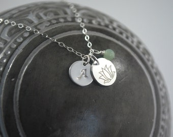 Strength necklace, silver lotus coin necklace Monogram Amazonite + Lotus necklace. No mud no lotus grace necklace Inspirational gift idea