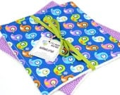 READY to SHIP! Washcloth or Cloth Wipes with Soft Terrycloth -Set of 2 in ORGANIC Timeless Treasures Birds on Blue and Purple Dots