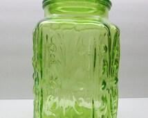 Vintage Green  Glass Kitchen Canister Cookie Jar