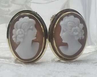 Vintage Carved Shell Cameo Screw Back Earrings in Solid 14K Gold